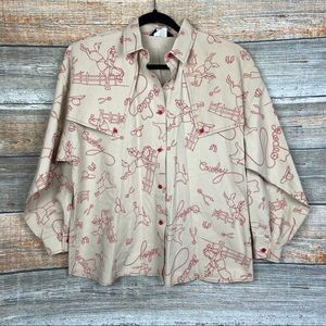 Vintage Roper Rodeo Cowboy Western Button Up Top